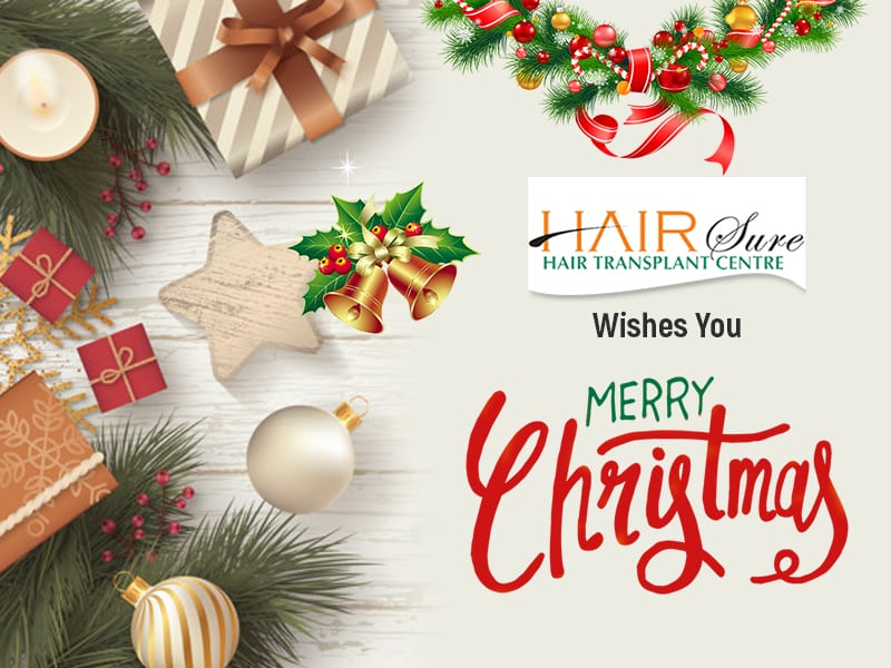 Merry Christamas wishes by Hair sure clinic, one of the best Hair transplant clinic in Hyderabad