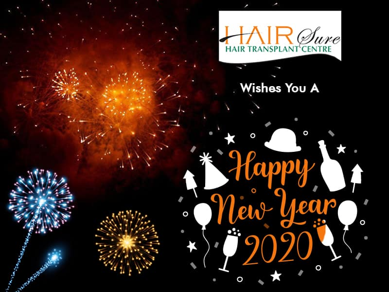 New year wishes by Hair sure clinic Hyderabad, Hair care specialist near me