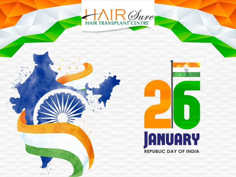 Republic day wishes by Hair sure clinic, one of the best Hair restoration hospital in Hyderabad