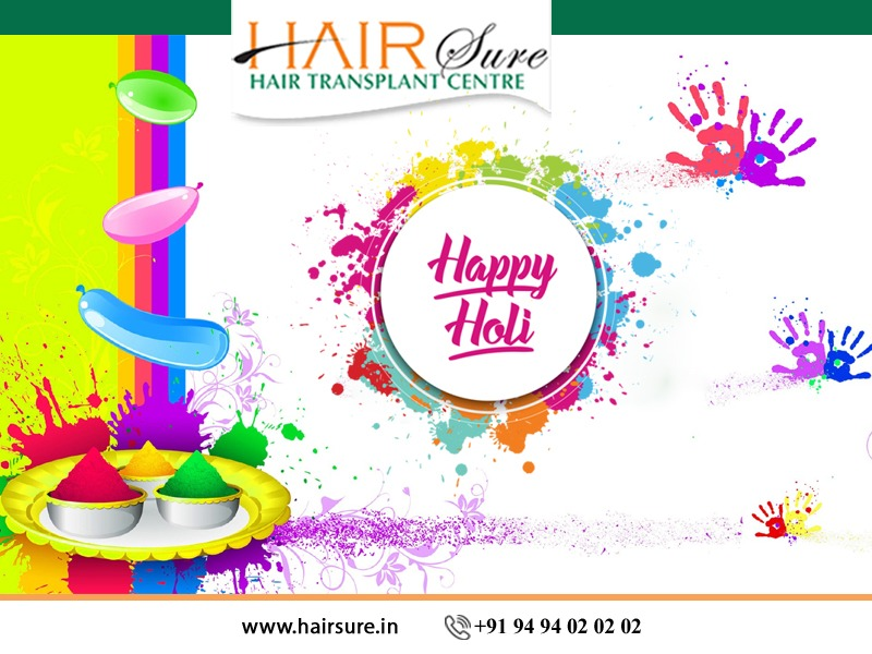 Happy Holi wishes by Hair Sure, One of the best Hair Restoration Hospitals in Hyderabad