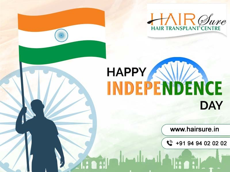 Independence Day Wishes by Hair Sure Clinic Hyderabad, hair transplant clinic near me